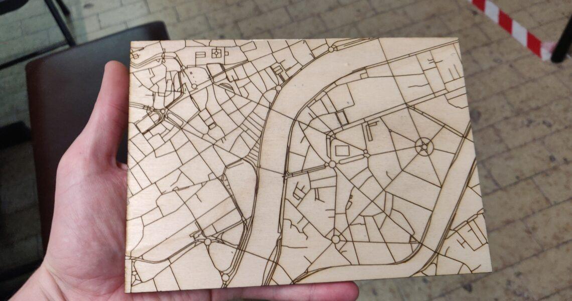 Carte d'Outremeuse Liège gravée à la laser